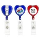 Custom Heart-Shaped Retractable Badge Holder, 1 1/4