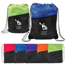 Two-Tone Polyester Drawstring Backpack with Zipper