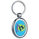 Custom 0112 - Oval Two Sided Budget Chrome Plated Plastic Domed Keytags