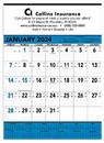 Triumph Custom 6104 Blue & Black Contractor's Memo (13-Sheet) Calendar, Offset