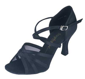 Stephanie Black Satin / Mesh Dance Shoes - 12005-15