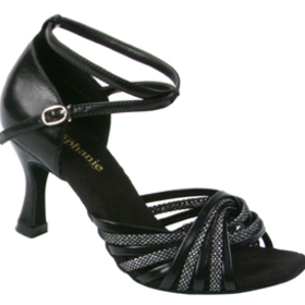 Stephanie Black Leather / Glitter Dance Shoes - 12028-11