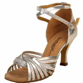 Go Go Dance Silver Leather / Glitter Dance Shoes - 12028-42