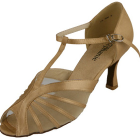 Stephanie Tan Satin Dance Shoes - 12036-55