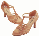 Go Go Dance Dark Tan Satin Dance Shoes - 15015-65