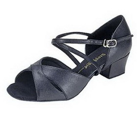 Stephanie Black Leather / Two Way Strap Dance Shoes