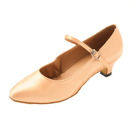 "Go Go Dance 1.3"" Tan Satin Dance Shoes - GO3022"