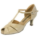 Go Go Dance Shoes, Open Toe, Tan Leather - GO4201
