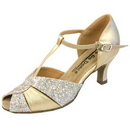 Go Go Dance Shoes, Open Toe, Gold Leather / Sparkle - GO4202
