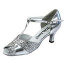 Go Go Dance Shoes, Open Toe, Silver Leather / Sparkle - GO4203