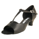 Go Go Dance Shoes, Open Toe, Black Leather - T-Strap - GO7040