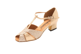 "Go Go Dance 1.8"" Gold Leather / Glitter Dance Shoes - GO7132"