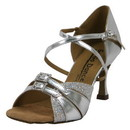 "GoGo Dance Shoes: 2.5"" Silver Leather / Glitter dance shoes - GO9523"
