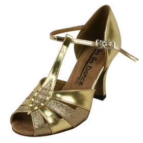 "Go Go Dance: 2.5"" Gold Leather / Glitter dance shoes - GO9584"