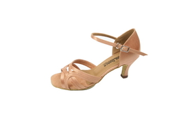 "Go Go Dance 2.5"" Dark Tan Satin Dance Shoes - GO9730"
