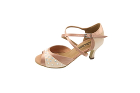 "Go Go Dance 2.5"" Tan Satin / Rhinestone Dance Shoes - GO9741"