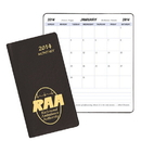 Custom MB-13 Monthly Pocket Planners, Continental Vinyl Covers, 3 1/2 x 6 1/2 inch, Saddle-Stitched