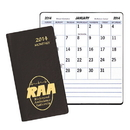 Custom MBL-13 Large Print Monthly Pocket Planners, Continental Vinyl Covers, 3 1/2 x 6 1/2 inch, Saddle-Stitched