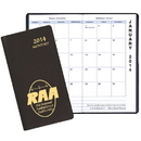 Custom MBU-13 Monthly Pocket Planners, Continental Vinyl Covers, 3 1/2 x 6 1/2 inch, Saddle-Stitched