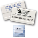 STOPNGO Line Custom White Large Plastic Name Badge with Safety Pin, 2 3/4
