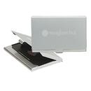 STOPNGO Line Custom 2 Tone Brushed Aluminum Business Card Holder, 3 5/8