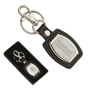 STOPNGO Line Custom Leather & Brushed Plate Keyring, 1 1/2