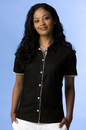 Women's Vansport Double-Knit Piped Full-Button Tech Polo - Imprinted