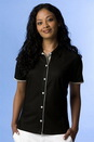 Women's Vansport Double-Knit Piped Full-Button Tech Polo