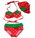 TopTie Toddler Girls' Swimsuit, Cute Strawberry Bikini, TWO-Piece Swimwear