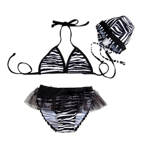 TopTie Toddler Girls' Swimsuit, Zebra Print Bikini, TWO-Piece Swimwear