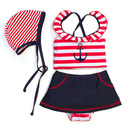 Toptie Toddler Girls' Swimsuit, Sailor Two-Piece Swimwear