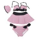 TopTie Toddler Girls' Swimsuit / Swimwear, Pink with Black Dots, Set of 4