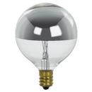 Sunlite 01203-SU 25 Watt G16.5 Globe Light Bulb, Candelabra Base, Clear, Silver Bowl