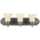 Sunlite 45492-SU 3 Lamp Vanity Decorative Sconce Fixture, Dusted Brown Finish, Tea Stained Glass