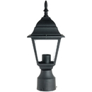 Sunlite 47150-SU Post Mount Decorative Outdoor Fixture, Black Powder Finish, Clear Beveled Glass