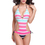 TopTie One Piece Swimwear, Navy Designed Stripe Color