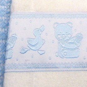 Simply Charming BC220B Burp Cloth w/ Blue Bear and Duck Trim