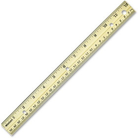 "Westcott Metal Edge Ruler, 12"" Length 1"" Width - 1/16 Graduations - Metric, Imperial Measuring System - Wood - 1 Each, Price/EA"