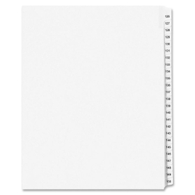 "Avery Legal Exhibit Reference Divider, 25 x Tab Printed 126 - 150 - 25 Tab(s)/Set - 8.5"" x 11"" - 25 / Set - White Divider - Clear Tab, Price/ST"