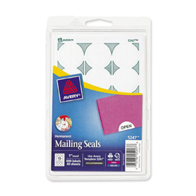 "Avery Print or Write Mailing Seals, 1"" - 600 / Pack - White, Price/PK"