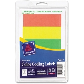 """Avery Print or Write Color Coding Label, 1"""" Width x 3"""" Length - 200 / Pack - Rectangle - Laser - Assorted, Price/PK"""