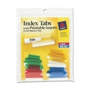 Avery Self-Adhesive Index Tabs With Printable Insert, Print-on - 25 / Pack - Assorted Tab, AVE16219
