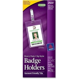 Avery Flexible Badge Holder, 50 / Box - Clear, Price/BX