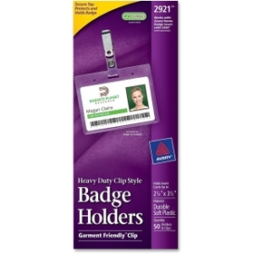 Avery AVE2921 Avery Landscape Badge Holder with Clip, Horizontal - Plastic - 50 / Box - Clear, Price/BX