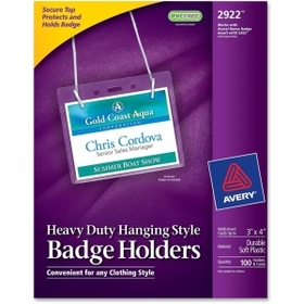 Avery Flexible Badge Holder, 100 / Box - Clear, Price/BX