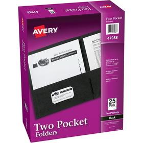 "Avery Two Pocket Folder, Letter - 8.50"" Width x 11"" Length Sheet Size - 20 Sheet Capacity - 2 Pockets - Embossed Paper - Black - 25 / Box, Price/BX"
