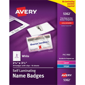 "Avery Laminated Name Badge Kit, 2"" x 3.25"" - 30 / Box - White, Price/BX"