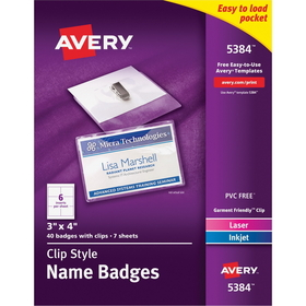 "Avery Name Badge Kit, 3"" x 4"" - Plastic - 40 / Box - White, Clear, Price/BX"