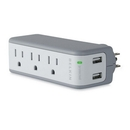 Belkin 5-Outlets Mini Surge Suppressors with USB Charger, 3 x AC Power, 2 x USB - 918 J - 5 V DC Output