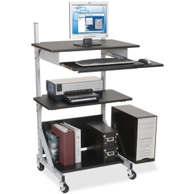 "Balt Alekto-3 Totally Adjustable Workstation, Rectangle x 52"" - Metal - Silver Frame, Black, Price/EA"